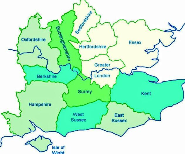 Greater London and it's surrounding counties