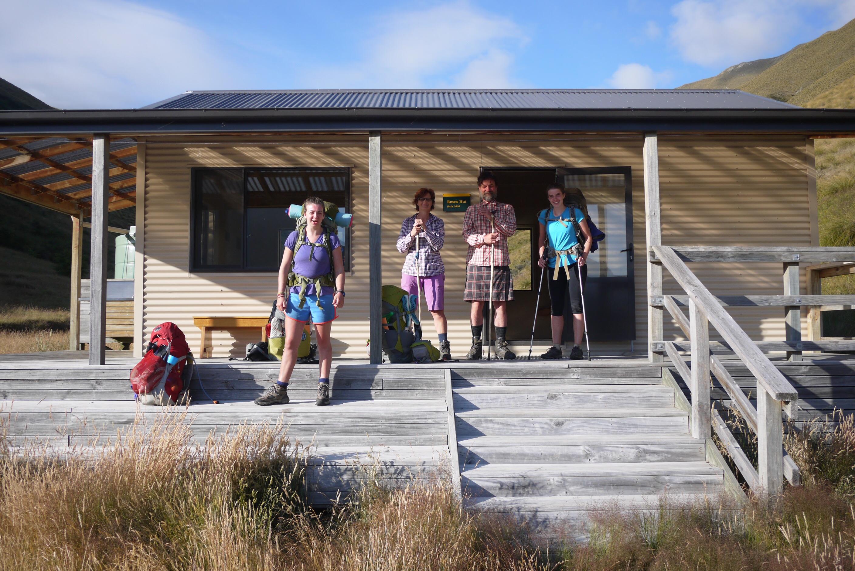 Trail friends and trampers at Rose Hut, Motatapu's