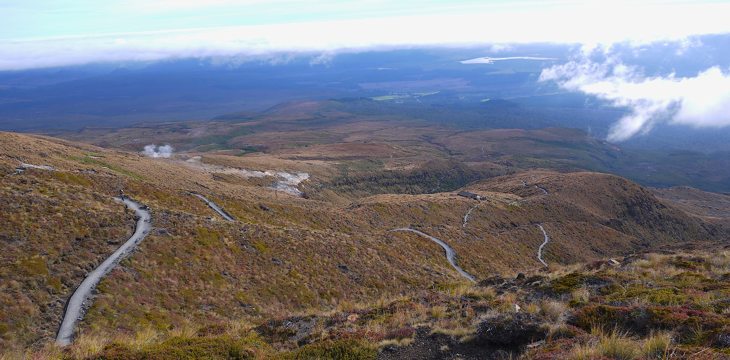 The beautifully graded pathway of Tongariro, snaking down the valley.